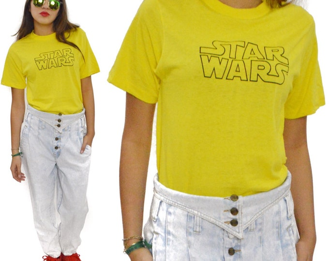 Vintage 80s Star Wars Ched Yellow T Shirt Sz L