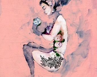 Floral Figurative Art Print, Wall Art, Nude Wall Art, Giclee Art Print,