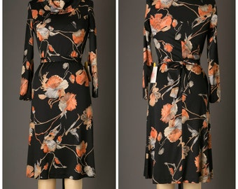 1970s Black Floral Print Dress with Original Tags