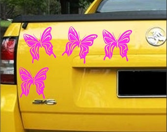 Butterfly stickers. 4 X pinkbutterfly car stickers 10cm x 10cm car decals Pink Butterflys
