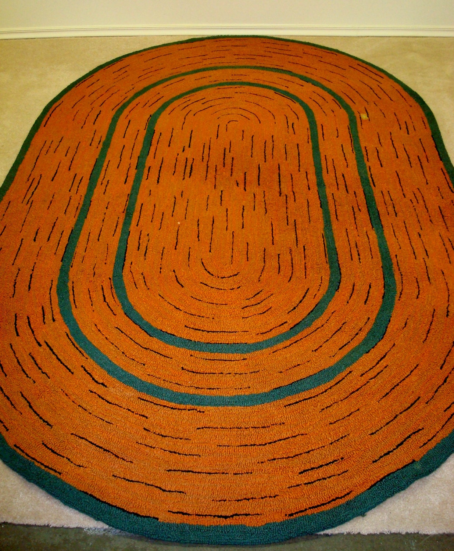 Mid Century Rug Orange Teal Black Racetrack 6 X 9 Hooked Wool
