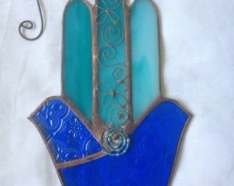 HANDMADE Two Doves HAMSA HAND Blue Colors with Flowers and Circles Filigree.Stained Glass,Wall Hanging,Ethnic Tiffany Glass,Original Design