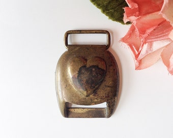Vintage heart buckle antique metal brass valentine bridle clip horse tack harness blanket roll buckle craft jewelry supply