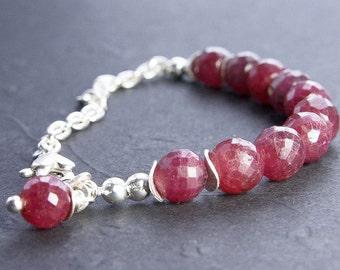 Natural Ruby Sterling Silver Bracelet. Raw Ruby Bracelet. July Birthstone. Gemstone Bracelet