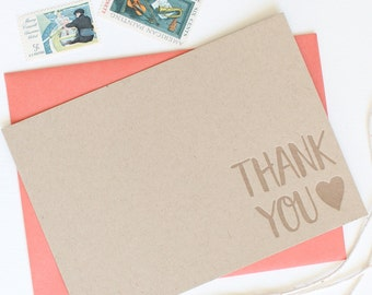 Letterpress Thank you card set, flat cards, kraft brown thick paper, embossed