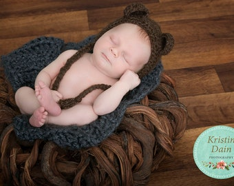 Bear Bonnet, Newborn Bear Bonnet, Crochet Bear Bonnet, Crochet Bear Hat, Bear Hat, Newborn Bear Hat, Baby Bear Bonnet, Baby Bear Hat