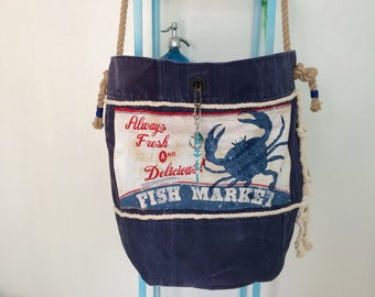 Reconstructed Vintage US Navy Duffle into A Big Beach Tote Bag