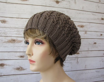 Light Brown Slouchy Beret - Slouchy Taupe Tam - Light Lacy Cabled Beret - Soft Sparkly Brown Hat - Fun Girly Khaki Hat