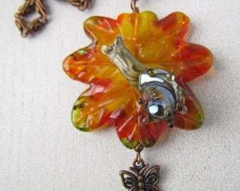Snail on marple leaf, lampwork pendant, orange fall autumn leaves, artisan lampwork beads, pendant on copper chain, glass pendant