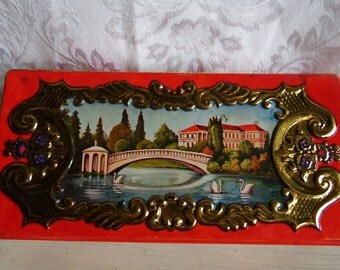 Western Germany Tin by Fricke & Nacke, Red Embossed with Gold Accents