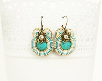 Small turquoise earrings, soutache turquoise earrings, drop white earrings, small soutache earrings, turquoise jewelry, soutache jewelry