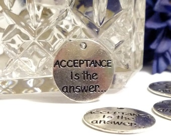 5 Pcs Acceptance Is The Answer Pendant Charms - 12 Step Recovery Alcoholics Narcotics Anonymous Inspirational