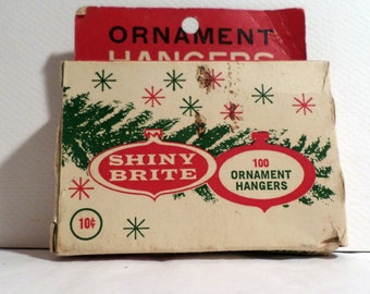 Vintage Christmas, Shiny brite, tree, Santa, Claus, Tinsel, Christmas Ornament, Ornament Hanger box, Ornament Hanger, Vintage Christmas