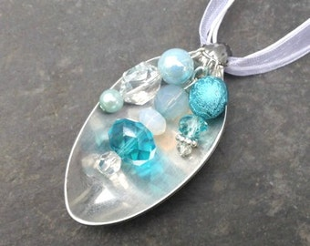 Spoon Necklace, Turquoise, Crystal and White Beads, Upcycled, Repurposed Silverware, Spoon Jewelry
