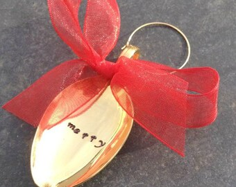 Merry Ornament, Stamped Spoon Ornament, Gold Spoon, Merry Christmas