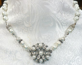 OOAK Vintage PEARL RHINSTONE Necklace - handmade - white faux pearls - silver tone metal - bridesmaid gift- bridal necklace- adjustable gift