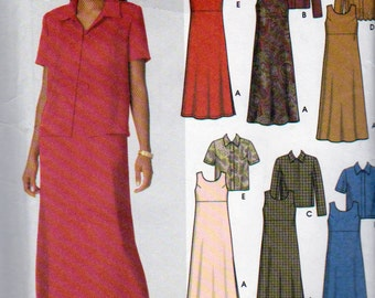 Misses Jacket, A Line Dress or A Line Jumper, Pullover Dress and Jumper, Back Tie , Ankle Length, Misses Sizes 26W, 28W, 30W, 32W, Uncut