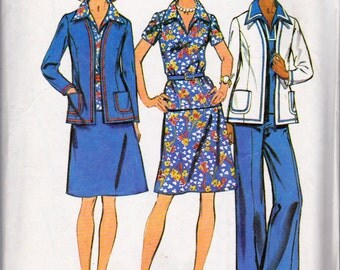 Vintage 1973, Simplicity 6167, Size 16 Misses, Unlined Jacket, Pants, Skirt and Top Sewing Pattern Bust 36, Waist 28, Hips 38 Inches, Uncut