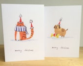 Cat and dog Christmas card, pair of A6 cards
