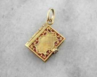 Vintage Book Locket, 18K Gold and Fine Red Enamel Charm or Pendant KMFU68-N