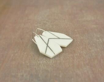 Minimalistic geometric white asymmetric dangle earrings, modern contemporary , artisan jewelry