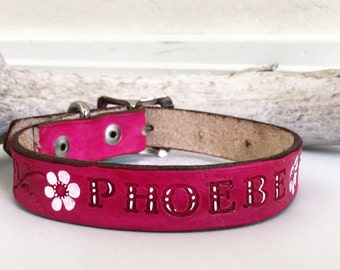 Customized with your pets name! Pink leather dog collar with white flower accents and persnalized pet's name