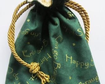 St Patrick's Day Holiday Gift Bag Lined Drawstring