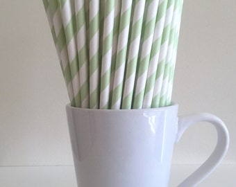 Green Paper Straws Light Green Striped Party Supplies Party Decor Bar Cart Accessories Cake Pop Sticks Mason Jar Straws Graduation Party