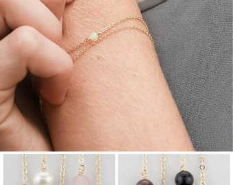 Simple Birthstone Bracelet, Dainty Gemstone or Peridot Layering Piece, Gift Bracelet / 14k Gold Filled, Rose Gold or Sterling Silver LB630