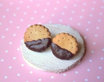 Cookie stud earrings, miniature food earrings, polymer clay food, kawaii studs