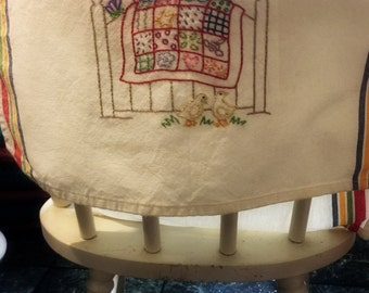 Hand Embroidered Tea Towel Country Patchwork Quilt