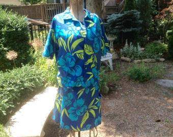 1960s Vintage Hawaii Print Dress Matching Jacket Rhapsody by Glazier