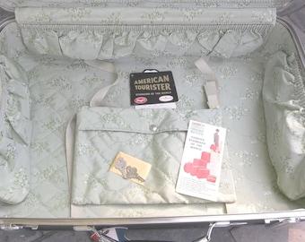 "American Tourister Tiara Hardside Suitcase Green 24"" Vintage Retro Luggage"