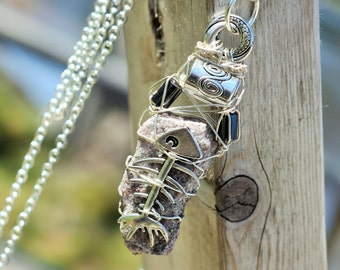 Large Bonefish, MUSKOKA STONE wire wrapped pendant is made with sterling silver wire, onyx and pewter beads.