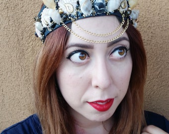 Mermaid Crown, Black Aura Mermaid Crown, Black Aura Sea Witch Crown, Shell Crown