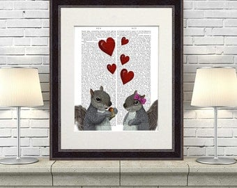 Squirrel love - Squirrel print romantic gift funny gift for him for her squirrel art kids room print woodland animal engagement gift