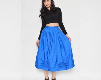 Vintage 80's Turquoise Puffy Skirt / Silky High Waist Pleated Skirt / Puffy Midi Skirt