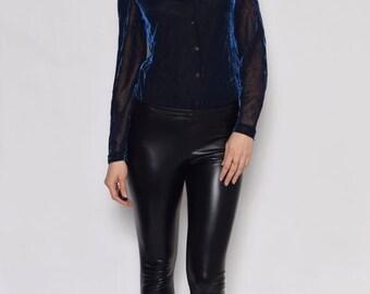 Vintage 90's Sheer Metallic Shirt / Iridescent See Thru Blouse / Iridescent Long Sleeve Top / Mesh Long Sleeve Shirt