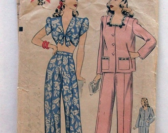 Hollywood #1389 Vintage 1940's 2 Piece Lounging Pants with Bra Top or Pajamas Pattern - Size 12 Bust 30