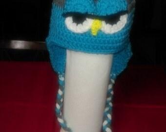 Crocheted Sleepy Owl Ear-Flap Hat