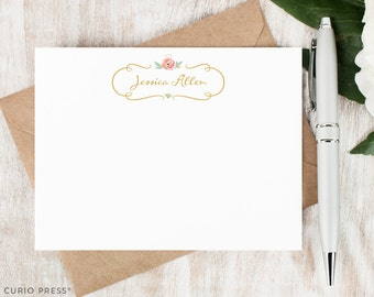 Personalized Notecard Set / Set of Flat Custom Stationery / Stationary Cards / Floral Gold and Pink Flowers // WATERCOLOR FLORALS I