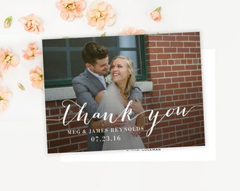 Calligraphy Script Wedding Thank you Photo Postcard, simple, classic