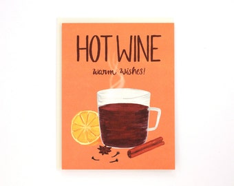 Holiday Drink Recipe Card - Mulled Wine - Hot Wine, Warm Wishes / HLY-DRINK-HOTWINE