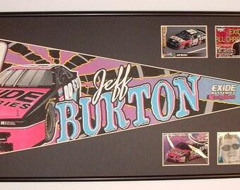 """Vintage NASCAR driver, Jeff Burton """"Exide Batteries"""" pennant & cards...Custom Framed!!"""