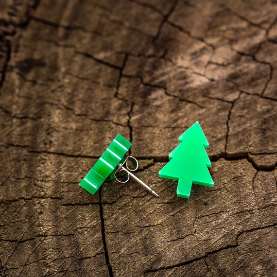 Christmas Tree - Green Acrylic Studs on Surgical Steel Posts.