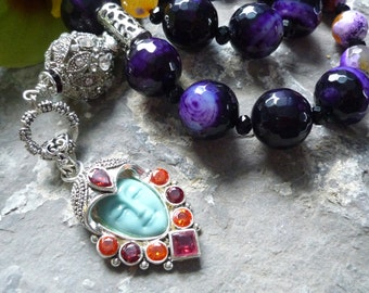 upcycled necklace, guenine amethyst agates faceted necklace, tassel necklace, goddess necklace, guenine vintage bead,ethnic necklace
