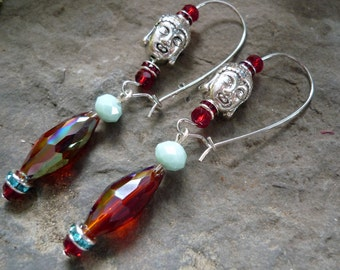 boucles d'oreilles bouddha,  red crystal earring, chinese earring, , boho chic earring, zen earring, yoga earring, boucles d'oreilles rouges