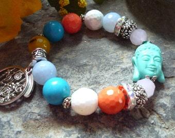 yoga bracelet, zen bracelet, meditation bracelet, elastic bracelet, agate bracelet, coral bracelet, yoga bracelet, colorfull bracelet