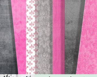 PINK GREY Damask Heart Grunge Texture  Digital Paper   set of 7