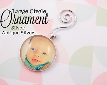 Custom Photo Ornament Circle 35 mm Personalized Ornament in Silver and Antique Silver